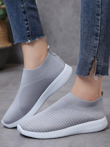 OneBling Plus Size Lightweight Knitted Slip On Trainers Women