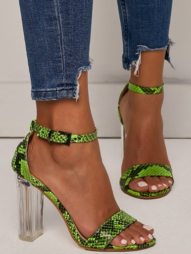 OneBling Plus Size Clear Block Heeled Sandals In Green Snake /11CM