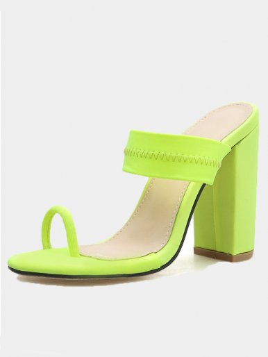 OneBling Plus Size Toe Loop Block Heeled Mules In Neon Green / 11CM