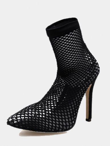 OneBling Plus Size Pointed Toe Black Fishnet Heeled Ankle Boots