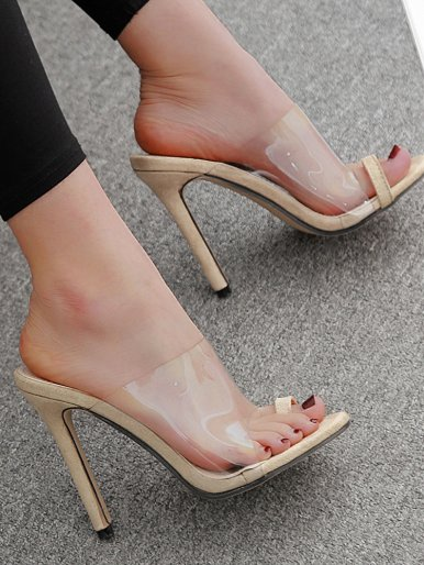 OneBling Toe Loop Clear Heeled Mules /11CM