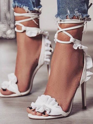 OneBling Plus Size Frill Detail Ankle Tie Heeled Sandals In White /11.5CM