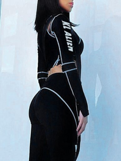 OneBling Contrast Stitching Mesh Detail Crop Tops and Pants Set