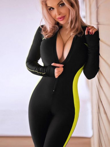 OneBling Long Sleeve Jumpsuit with Side Taping