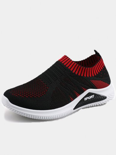 OneBling Trainers Mixed Color Knitted Breathable Sock Shoes 2019 Spring Summer Slip On Flat Walking Shoes Women Sneakers