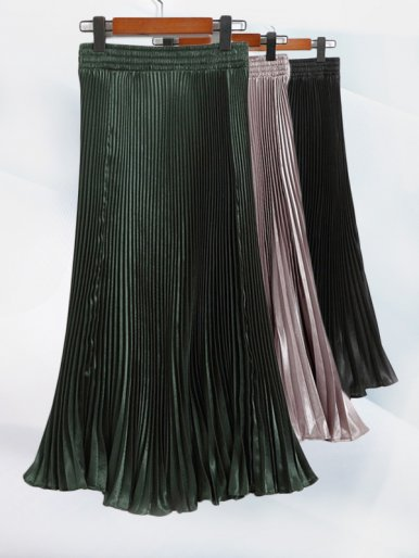 OneBling Elastic Waist Metallic Pleated Skirt