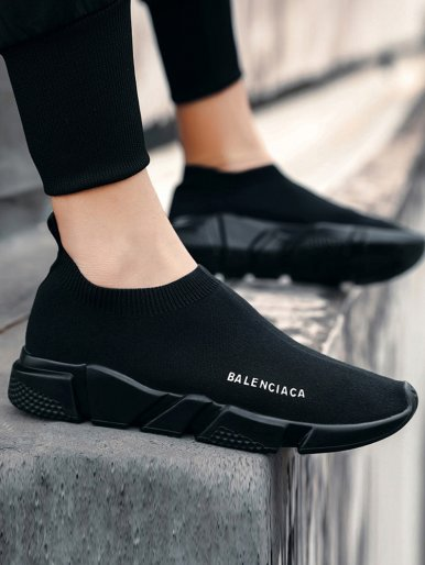 Black Breathable Mesh Knit Sock Shoes 2019 Summer Autumn Slip On Flat Walking Shoes Men Sneakers Trainers