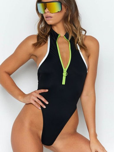 OneBling Neon Green Half Zipper Bodysuit with Reflective Taping