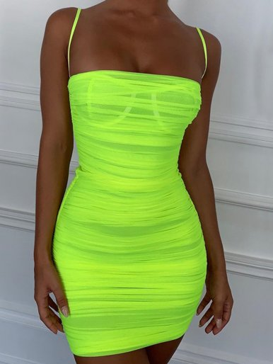 OneBling Thin Strap Mesh Ruched Mini Dress In Neon Green