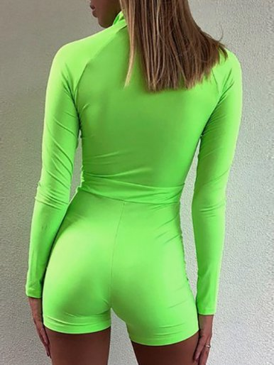 OneBling Zipper Front Long Sleeve Women High Waist Rompers Streetwear Neon Green Skinny Playsuit Fitness Short Jumpsuit
