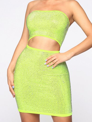 OneBling Neon Green Sexy Backless Strapless Bodycon Dress Summer Rhinestone Crystal Hollow Out Waist Sleeveless Mini Dress