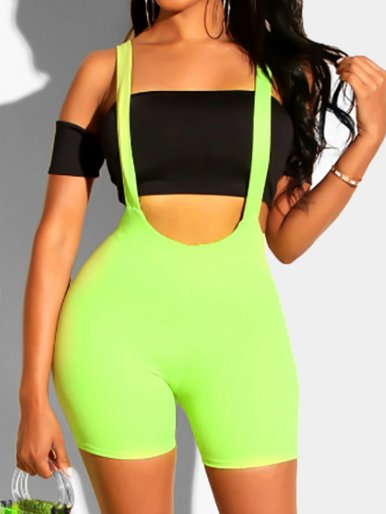 OneBling Sleeveless High Waist Women Suspender Rompers Summer Wear Your Own Tops Neon Green Playsuit Sexy Short Jumpsuit