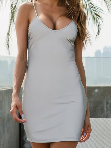 OneBling Sexy Deep V Spaghetti Strap Bodycon Mini Dress Summer Sliver Reflective Cami Dress Clubwear Women Party Dress