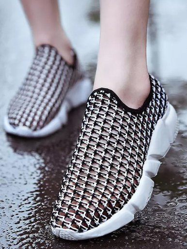OneBling Non-slip Breathable Mesh Flat Platform Shoes Woman Summer Plus Size Women Sneakers Slip On Casual Walking Ladies Shoes