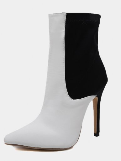 OneBling High Heeled Ankle Boots In Two Tone Black and White