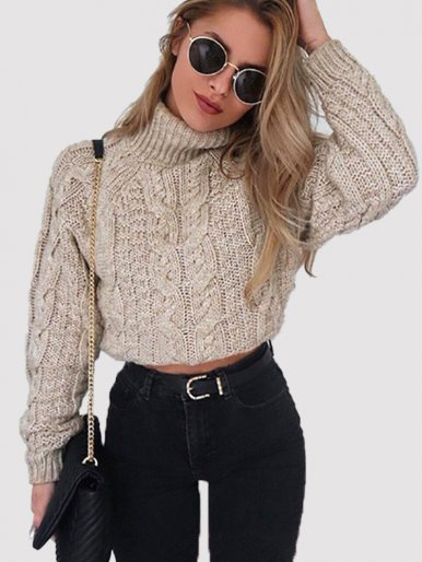 OneBling Red Twist Knit Short Sweaters Women Turtleneck Sweater Autumn Winter Casual Female Jumper Ladies Long Sleeve Pullovers
