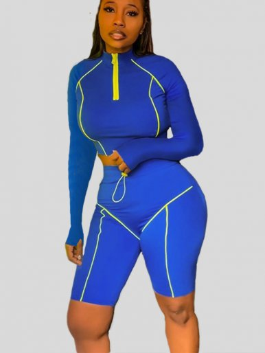 OneBling Neon Piping Zipper Fitness Women Two Piece Outfits 2019 Summer Long Sleeve Crop Top Elastic Band High Waist Shorts Sets