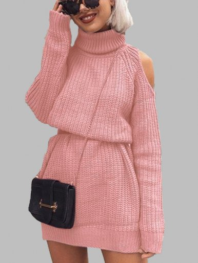 OneBling Pink Off Shoulder Long Sweaters Women Turtleneck Sweater 2019 Autumn Winter Casual Jumper Long Sleeve Ladies Pullovers