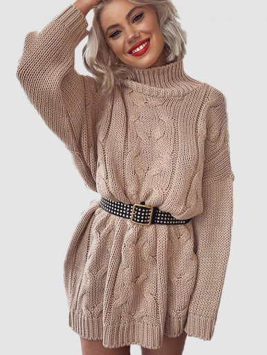 OneBling White Knitted Long Sweater Women Turtleneck Sweaters Ladies Long Sleeve Pullovers Autumn Winter Loose Casual Jumper
