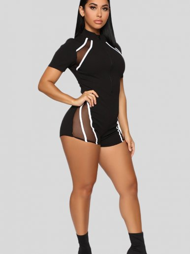 OneBling Sexy See-through Black Mesh Stripe Patchwork Women Fitness Playsuit 2019 Summer Zip Sport Rompers Female Short Jumpsuit
