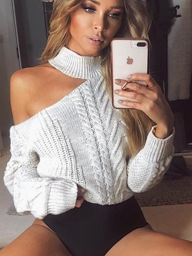 OneBling Off Shoulder Sweaters Women Turtleneck Sweater Long Sleeve Pullover