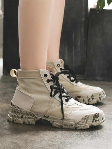 OneBling Women Ankle Boots 2019 Spring Autumn Canvas Chunky Trainers Patchwork Platform Letter Sole High Top Casual Sneakers