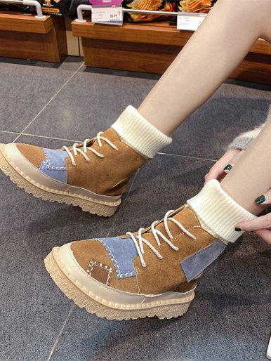 OneBling Fashion Patch Knitted Tube Boots Women Flat Shoes Woman Platform Boots 2019 Autumn Winter Lace Up Ladies Casual Shoes