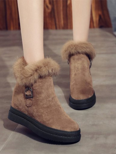 Chunky Zipper Ankle Boots with Faux Fur Trim