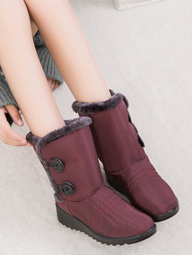 Plus Size Faux Fur Trim Women Ankle Wedge Boots with Button Detail