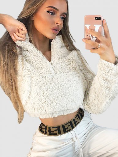 OneBling Fake Fur Short Sweatshirts Women Long Sleeve Pullover 2019 Autumn Winter Zipper Pockets Front Female Fluffy Jumper