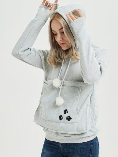 OneBling Women Hoodie with Kangaroo Pet Pouch Cat Love