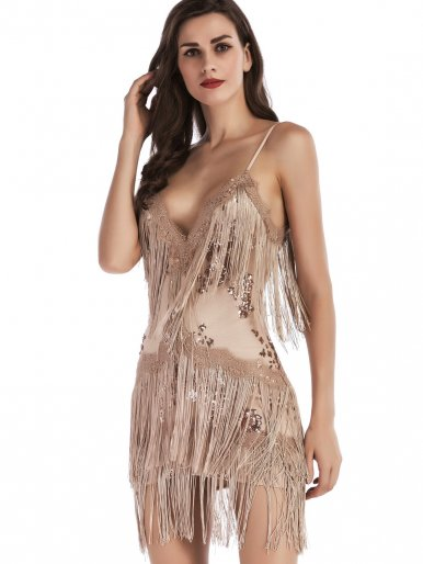OneBling Sexy Deep V Spaghetti Strap Dress Sequins Embroidery Tassels Women Mini Dress