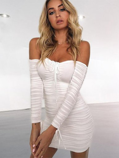 Sweetheart Off Shoulder Ruched Mini Dress with Fringe Tie