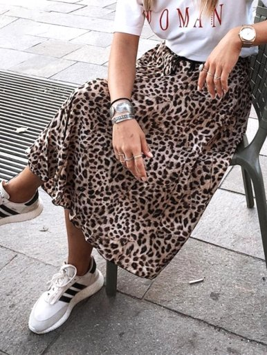 Leopard print Drawstring elastic waist pleated skirts