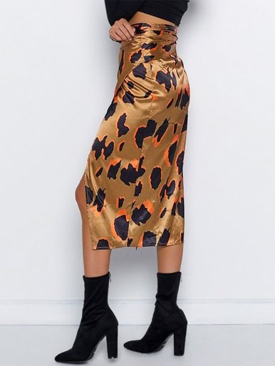 Wrap Bow Satin Midi Skirt In Leopard Print