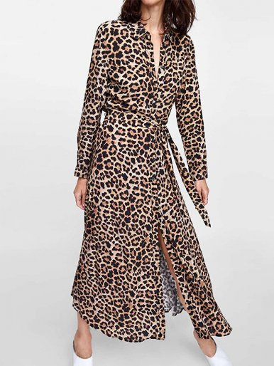 Long Sleeve Shirt Midi Dress In Leopard