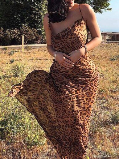 Chiffon Bodycon Leopard Maxi Dress with Tie Back