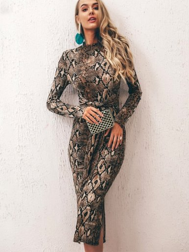 Long Sleeve Midi Dress In Snake Print with Tie Waist & Slit Side