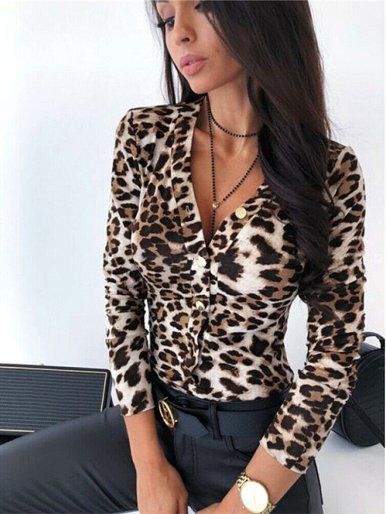 OneBling Deep Plunge Bodycon Bodysuit In Animal Skin Print