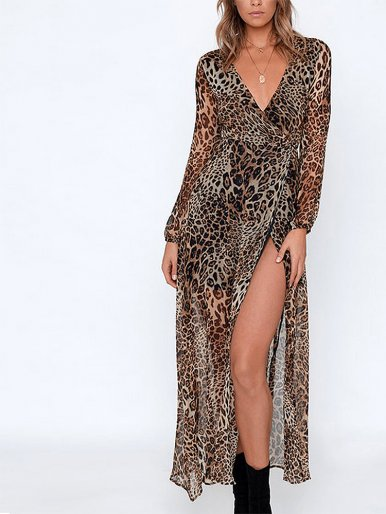 OneBling Long Sleeve Chiffon Maxi Wrap Dress In Leopard