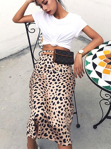 High Waist Midi Skirts Leopard Pattern