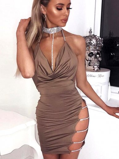 Crystal Choker Neck Draped Detail Mini Dress with Open Back