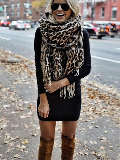 Winter Tassel Scarf In Brown Leopard
