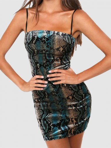 Bodycon Mini Dress In Snake