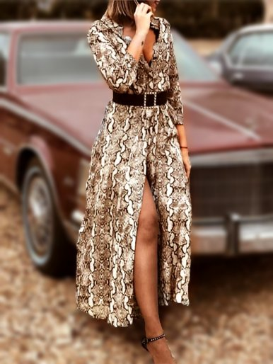OneBling  Deep V Neck Wrist Sleeve Shirt Maxi Dress In Snake