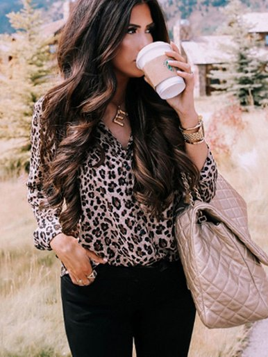Plus Size Women Long Sleeve Leopard Blouse