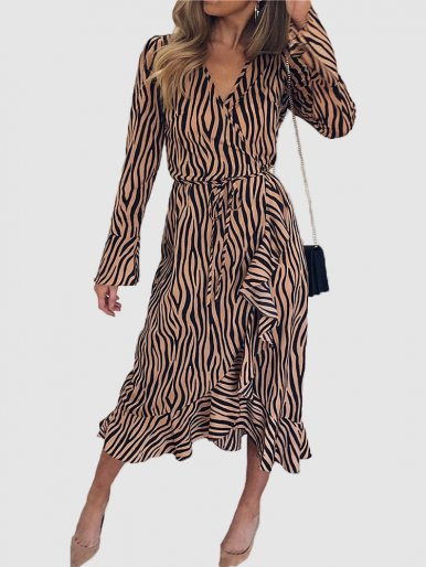 Zebra Print Wrap Midi Dress with Ruffles Detail & Fluted Sleeves
