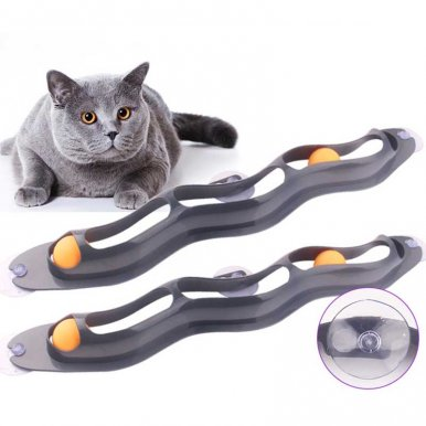 Pet Cats Window Track Balls Toy Cat Pingpong Toys