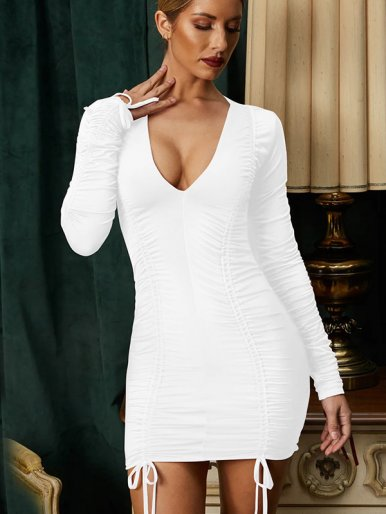 V Neck Long Sleeve Ruched Mini Dress with Tie Detail