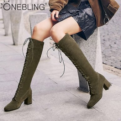 Plus Size Lace Up Knee High Boots In Faux Suede